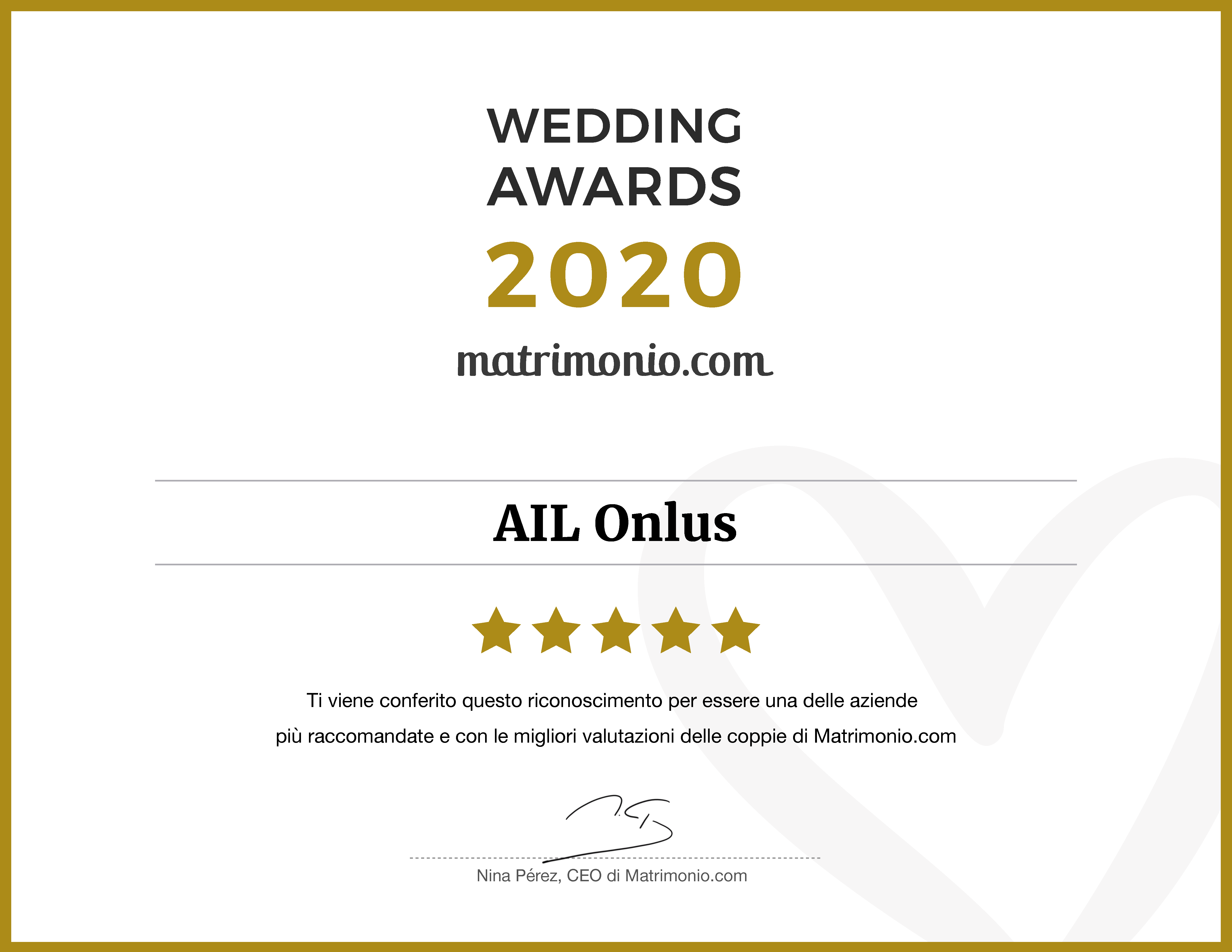 L'attestato del Wedding Awards ricevuto da Matrimonio.com