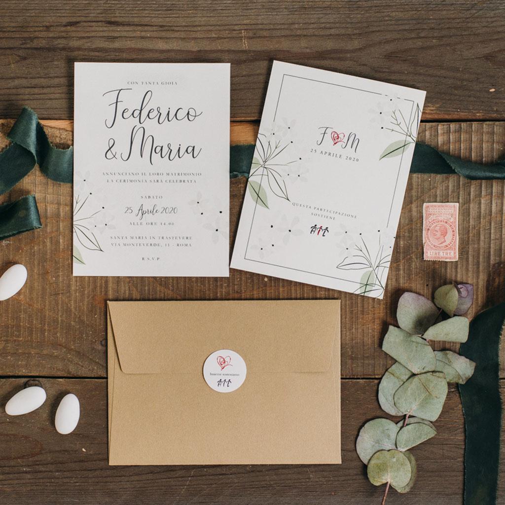 Partecipazioni Matrimonio Solidali.Partecipazioni Semplice Floreale Lieti Eventi Ail