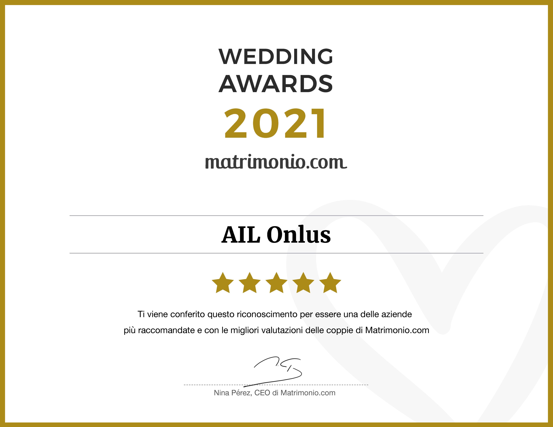L'attestato del Wedding Awards ricevuto da Matrimonio.com nel 2021